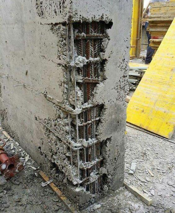fenomen de segregare beton la stalpi